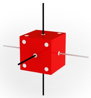 Dice showing the values of squared spin in three perpendicular directions