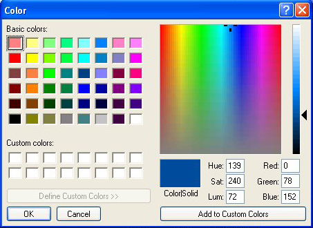 Colour picker dialogue