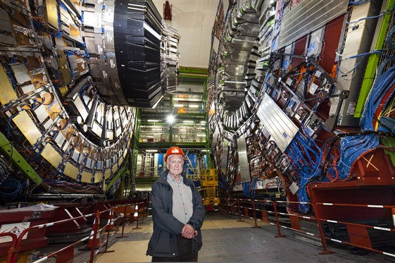 Peter Higgs visits the LHC.