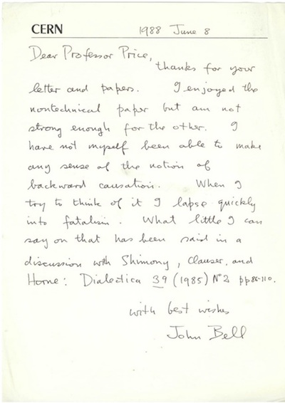 Huw Price's letter from John Bell