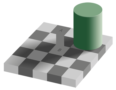 Chess board illusion