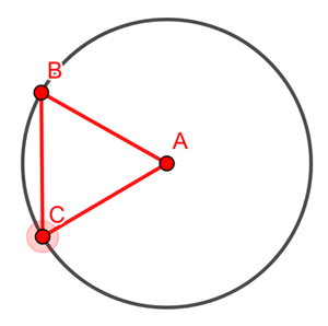 Equilateral triangle and circle