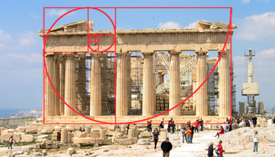 golden ratio superimposed on the Parthenon