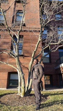 Mboyo Esole outside the Jefferson Lab