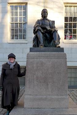 Rachel with John Harvard!