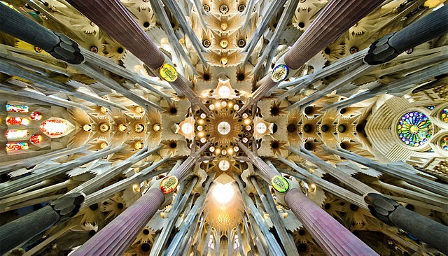 Detail of the ceiling of the nave of the Sagrada Familia in Barcelona