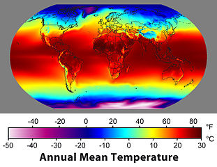 Map of average annual temperature