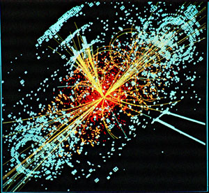 Simulated collision at the LHC