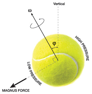 Figure 1: The forces on a tennis ball