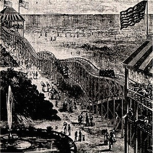 The Switchback railway, the first coaster built in 1884 on Coney Island