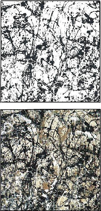 Fig. 4: A comparison of (left) the black anchor layer and (right) the complete pattern consisting of four layers (black, brown, white and grey on a beige canvas) for the painting 'Autumn Rhythm: Number 30' (2.66m by 5.30m) painted in 1950. The complete pattern occupies 47% of the canvas surface area. The anchor layer occupies 32%.