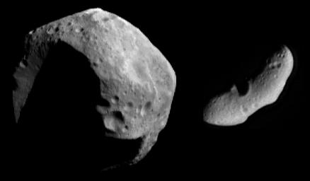 Two very different asteroids, courtesy of NASA