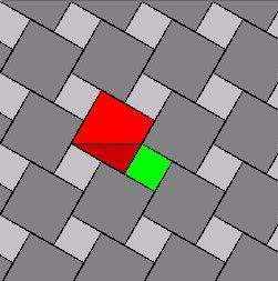 A Pythagoras tiling covers the plane with periodic copies of the squares on the sides of the right triangle.