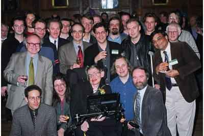 [IMAGE: Hawking and his students]