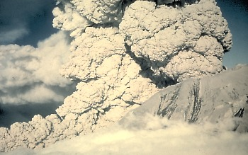 St Helens erupting in 1980. Picture from US Geological Survey