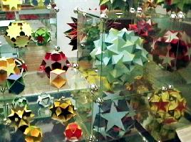 Polyhedra displayed in the maths gallery at the Science Museum
