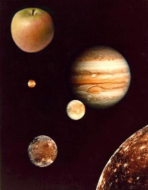 Jupiter, moons and apple