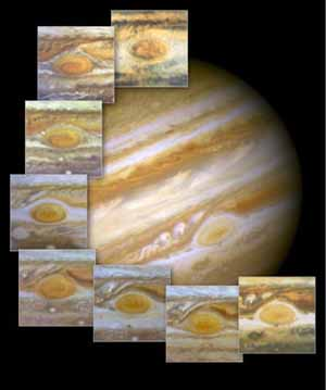 "The red spot on the surface of Jupiter is a storm that has been raging for more than 300 years. <br><font size=-1>Composite image courtesy of <a href=""http://www.nasa.gov"">NASA</a></font>"