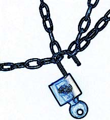 Image of chains, padlock and key