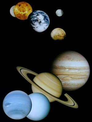 photomontage of planets