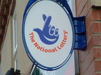 shop with national lottery sign