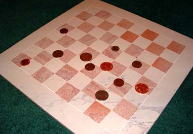 chessboard with coins