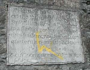 The plaque to Hamilton's discovery of the quaternions at Broome Bridge in Dublin