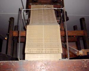 Jacquard loom with punch cards ca. 1840