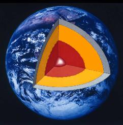 A cutaway, showing Earth's lower and upper mantle in yellow and light blue.