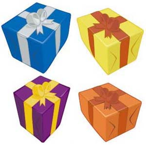four wrapped presents