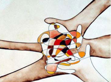 Carla Farsi, <i>Coming together</i>, oil on canvas. Reproduced with kind permission of the artist.