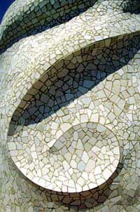 A detail of a Gaudí mosaic.