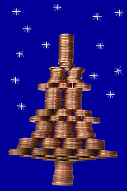 Christmas tree made from coins