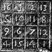The magic square appearing in <i>Melancholia</i> shown in close-up.