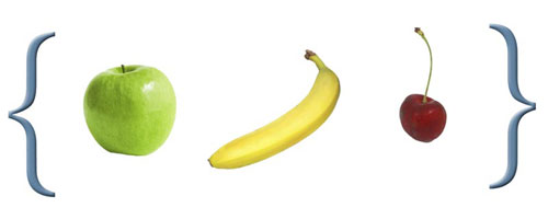 A set containing an apple, a banana and a cherry.