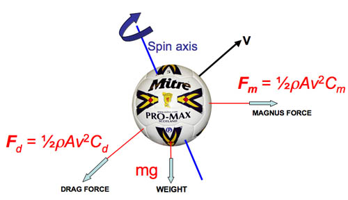 Forces on a spinning ball