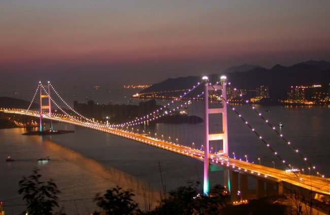 The Tsing Ma suspension bridge in Hong Kong