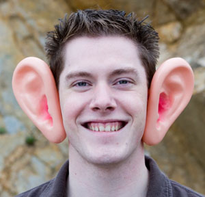 Man with fake big ears