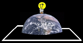 The Earth with a light bulb