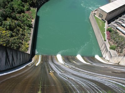 The spillway of a hydroelectric power station.
