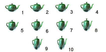 A teapot changes shape through keyframing