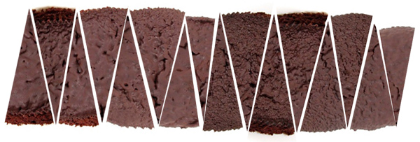 Cake slices rearranged into a rectangle