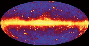 A simulated image of a gamma ray universe, as it will be seen by GLAST.