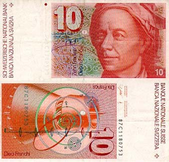 A Swiss banknote honouring Euler.