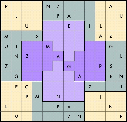 each row column and jigsaw region must include exactly the letters you find in the words plus magazine including repetitions this means that each row