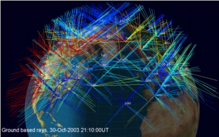 The paths taken by GPS transmissions