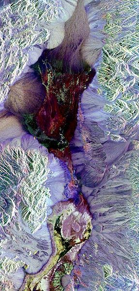 Death valley as seen from the Space Shuttle's synthetic aperture radar instrument.