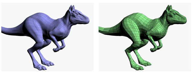 Two versions of the remeshed surface with different types of shading. These models are made up of far fewer shapes than the original tiangle mesh.
