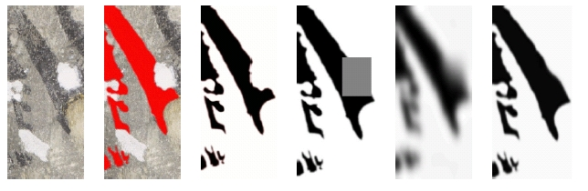 Figure 10: A specific structure in the fresco is selected and then reconstructed using <i>Cahn-Hilliard inpainting</i> for black and white images. From left to right: the original image; the relevant structure is identified; the structure is <i>binarised</i> (turned into a black and white image); the missing domain is identified (grey rectangle); the image structure is diffused into the missing domain, the structure is sharpened.