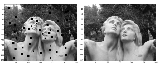 The diffusion equation applied to a damaged image